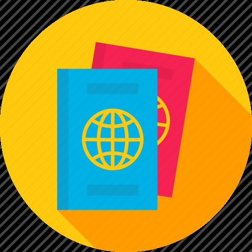 certificate, document, id, identity, pass, passport, travel icon