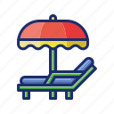 beach, chair, summer, vacation icon