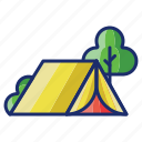 camping, nature, outdoor, tent icon