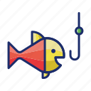 fish, fishing, hook, seafood icon