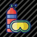 goggle, scuba, diving, oxygen tank