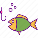 fish, fishing, hook, seafood icon