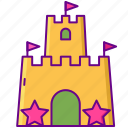 beach, castle, sand, vacation icon
