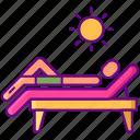 beach, summer, sun, tanning icon