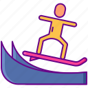 sea, surf, surfer, wave icon