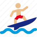 beach, ocean, sea, surf, surfer, surfing, waves icon