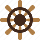boat, ocean, rudder, sea, wheel icon