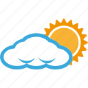 cloud, cloudy, partly, sun, weather