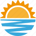 ocean, sea, sun, sunny, sunset, vacation icon