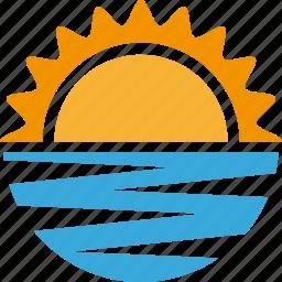 ocean, sea, sun, sunny, sunset, vacation icon