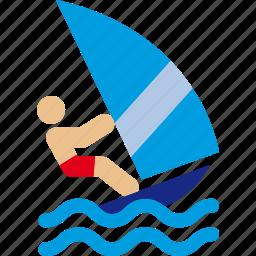 sea, sport, waves, wind, windsurf icon
