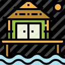 bungalow, estate, luxury, real, resort, sea, sun icon
