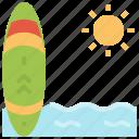 equipment, sport, summer, surfboard, surfing icon
