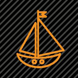 boat, nautical, sailing, sea, ship, vacation icon