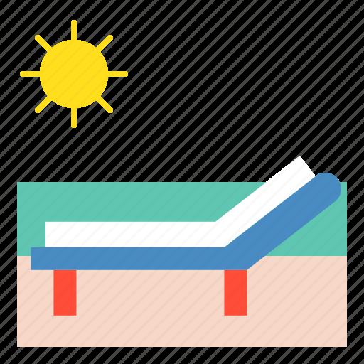 beach, beachchair, summer, sunbath, sunny, vacation icon
