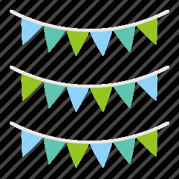 festival, festival flag, flag, summer, vacation icon