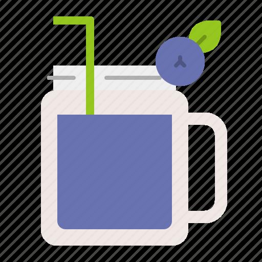 beverage, blueberry, blueberry juice, juice, mason jar, summer, vacation icon