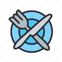 dining room, food, fork, knife, plate, restaurant icon