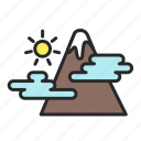 holiday, leisure, mountains, sun, vacation icon