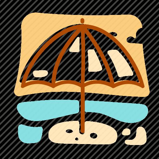 summer, umbrella, vacation icon