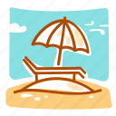 beach, sand, summer, vacation icon