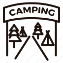 camping, entrance, holidays, outdoors, tents, vacation icon