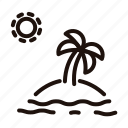 beach, exotic, island, palm, tree, tropical, vacation icon
