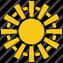 blazing sun, glaring sun, solar sun, sun, sun rays icon