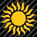 fiery sun, solar sun, sunshine, summer sun, sun icon