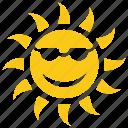 beach sun, cartoon sun, happy sun, picnic concept, solar sun