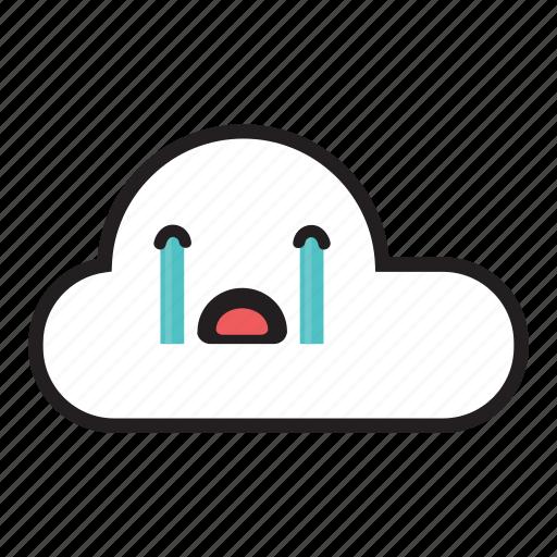 Raining, cry, sky, rain, crying, monsoon, cloud icon