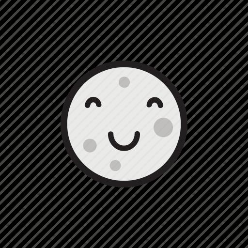 crater, happy, moon, night, satellite, smiling icon