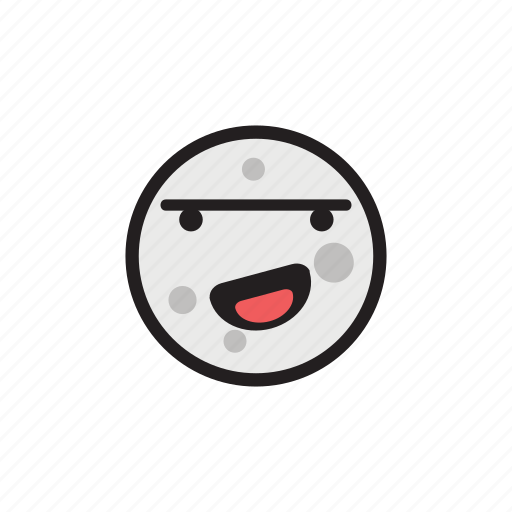 crater, happy, laughing, moon, night, satellite icon