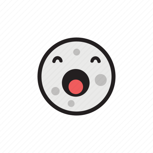 crater, moon, night, satellite, sleepy, yawning icon