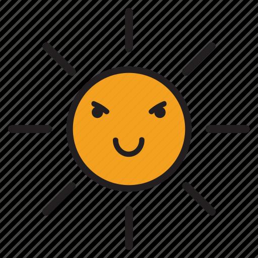 day, evil, rays, smile, sun, sunshine, yellow icon
