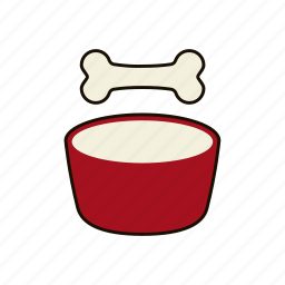 bone, bowl, dog, dog food, feed, happy pet, pet food icon