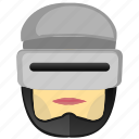 avatar, comics, head, man, police, robocop, robot icon