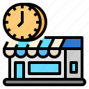 hours, open, shop, store icon