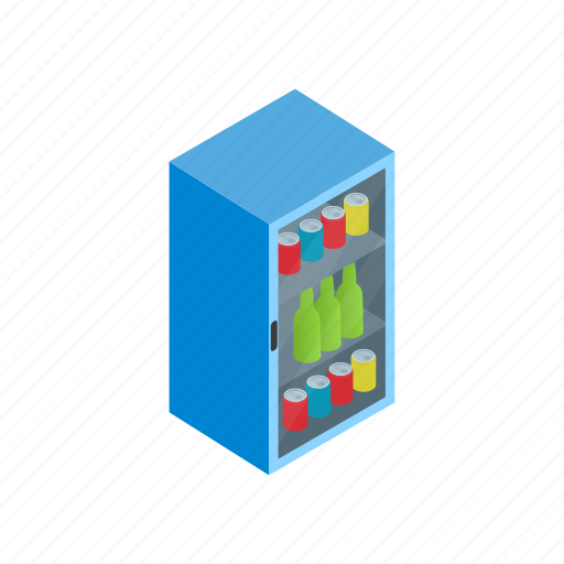 cold, cooler, drink, food, freeze, isometric, refrigerator icon