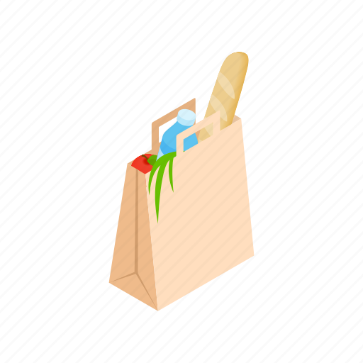 bag, food, grocery, healthy, isometric, paper, vegetable icon