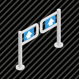 barrier, direction, door, gate, isometric, supermarket, turnstile icon