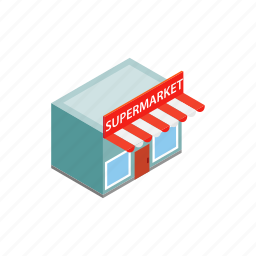 building, facade, house, isometric, shop, store, supermarket icon