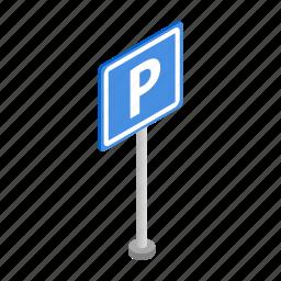 asphalt, car, isometric, parking, road, space, transport icon