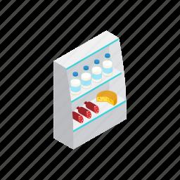 food, fridge, grocery, isometric, shop, store, supermarket icon