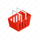 basket, buy, cart, commerce, isometric, shop, supermarket icon