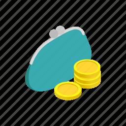accessory, female, finance, isometric, money, purse, wallet icon