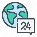 chat, earth, globe, help, message, service, support icon