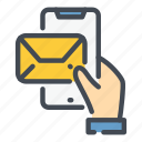 email, hand, help, mail, mobile, phone, support icon