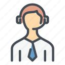 call, center, man, operator, phone, service, support icon