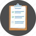 checklist, clipboard, document, list, note, paper icon